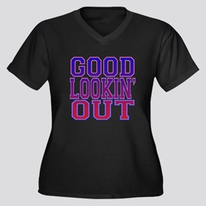 Good Lookin' Out Women's Plus Size V-Neck Dark T-S