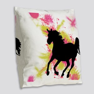 Running Horse Burlap Throw Pillow