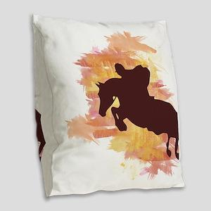 Horse Jumper Burlap Throw Pillow