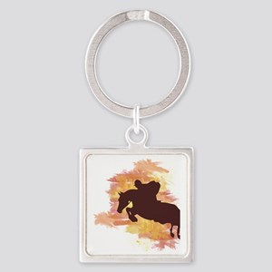 Horse Jumper Square Keychain