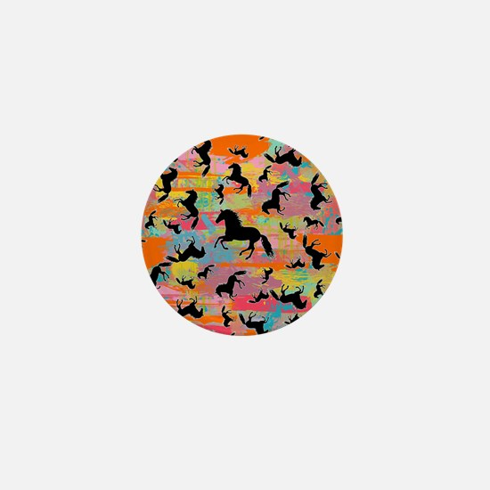 Colorful Horses Mini Button
