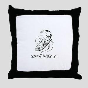 Surf Waikiki, Hawaii Throw Pillow