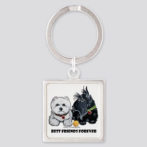 Westie Scottie Best Friends Square Keychain