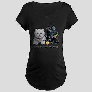 Westie Scottie Best Friends Maternity Dark T-Shirt
