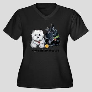 Westie Scott Women's Plus Size Dark V-Neck T-Shirt
