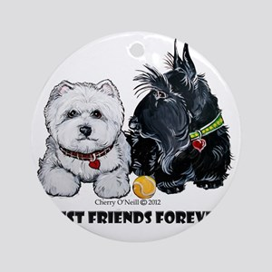 Westie Scottie Best Friends Round Ornament