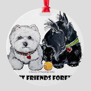 Westie Scottie Best Friends Round Ornament
