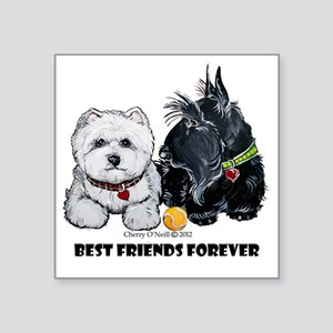 "Westie Scottie Best Friends Square Sticker 3"" x 3"""