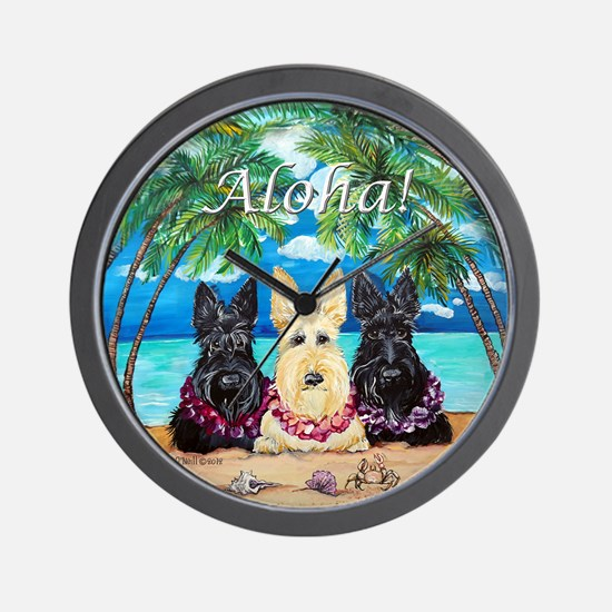 Scottish Terrier Aloha Paradise! Wall Clock