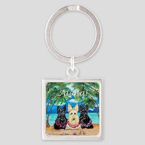 Scottish Terrier Aloha Paradise! Square Keychain