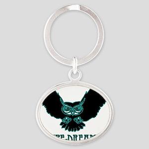 blue pipe dream magical mystical owl Oval Keychain