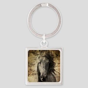 Friesian Horse Square Keychain
