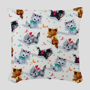 Cute Kittens Woven Throw Pillow