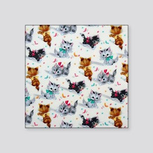 "Cute Kittens Square Sticker 3"" x 3"""