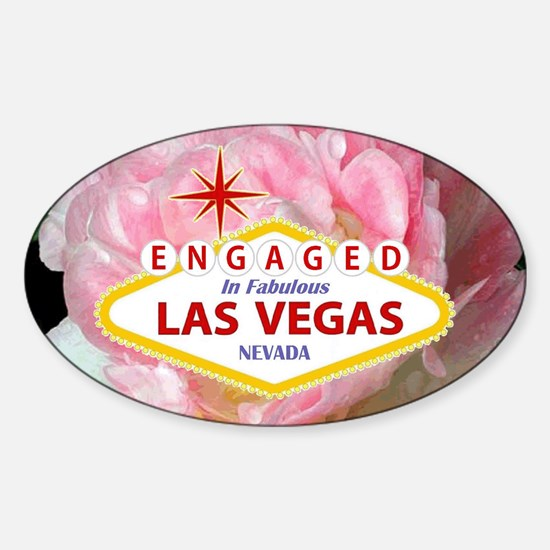 Engaged In Las Vegas Card Sticker (Oval)