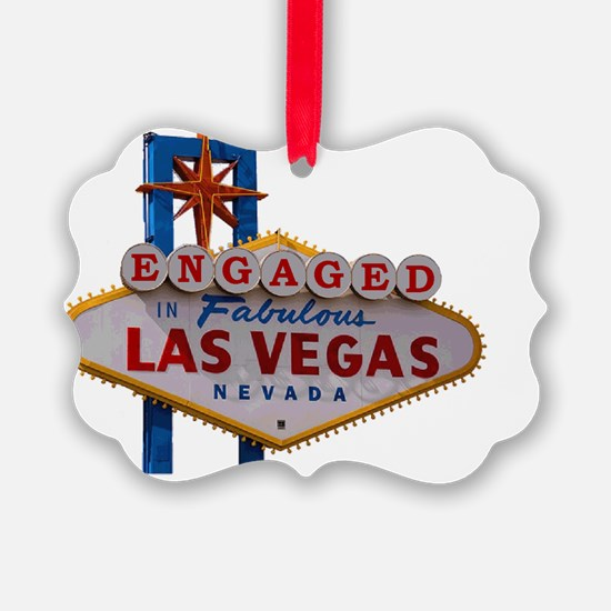 Engaged In Las Vegas Card Ornament