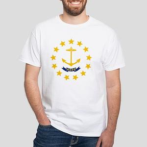 Rhode Island State Flag White T-Shirt