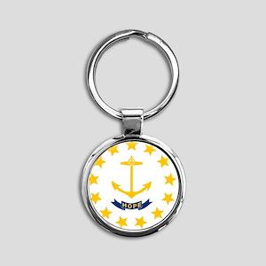Rhode Island State Flag Round Keychain