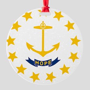 Rhode Island State Flag Round Ornament