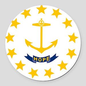 Rhode Island State Flag Round Car Magnet