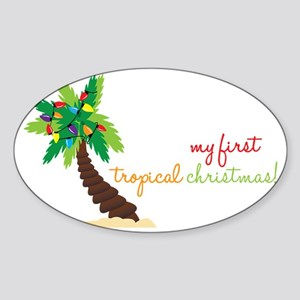 First Tropical Christmas Sticker (Oval)