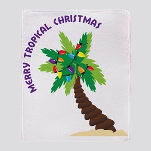 Merry Tropical Christmas Throw Blanket