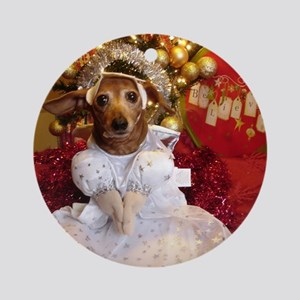 Dachshund Christmas angel Round Ornament