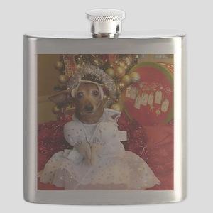 Dachshund Christmas angel Flask