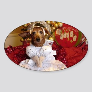 Dachshund Christmas angel Sticker (Oval)