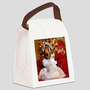 Dachshund Christmas angel Canvas Lunch Bag