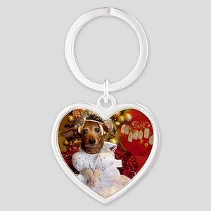 Dachshund Christmas angel Heart Keychain