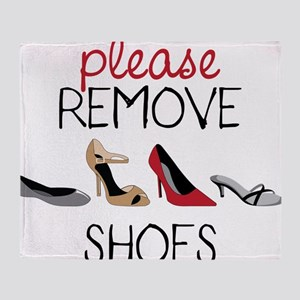 Please Remove Shoes Throw Blanket