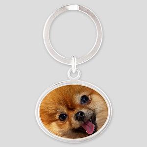 Happy Pomeranian Oval Keychain