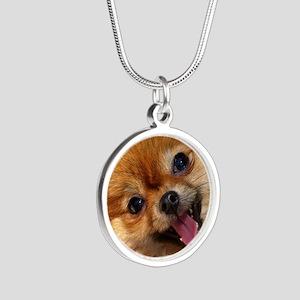 Happy Pomeranian Silver Round Necklace