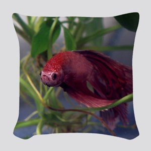red betta male Woven Throw Pillow