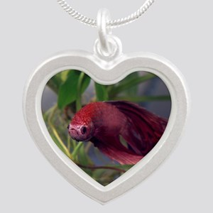 red betta male Silver Heart Necklace