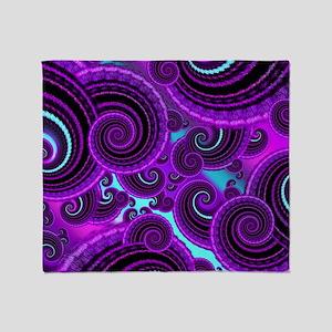 Funky Purple Swirl Fractal Art Patte Throw Blanket