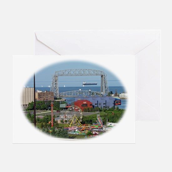 The Duluth Aerial Lift Bridge, a car Greeting Card