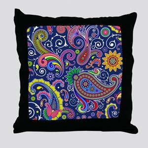 colorful paisley Throw Pillow