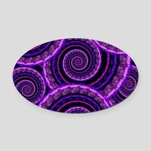 Purple Spiral Fractal Art Pattern Oval Car Magnet