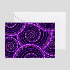 Purple Spiral Fractal Art Pattern Greeting Card