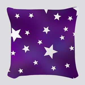 Purple and White Star Pattern Woven Throw Pillow