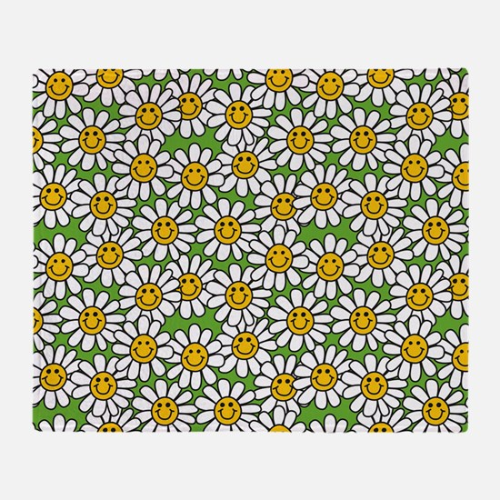 Smiley Daisy Flowers Pattern Throw Blanket
