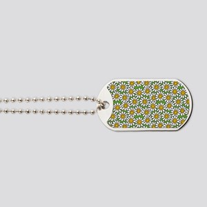 Smiley Daisy Flowers Pattern Dog Tags