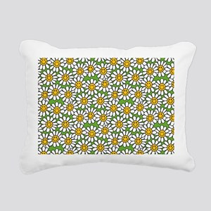 Smiley Daisy Flowers Pat Rectangular Canvas Pillow