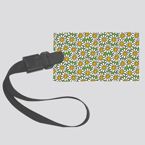 Smiley Daisy Flowers Pattern Large Luggage Tag