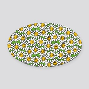 Smiley Daisy Flowers Pattern Oval Car Magnet