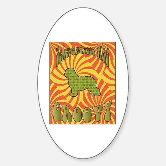 Groovy Schapendoes Oval Decal