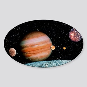 Jupiter and the Galilean moons seen Sticker (Oval)