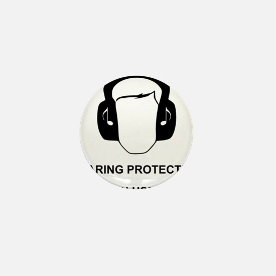 Hearing Protection with Text Black Mini Button